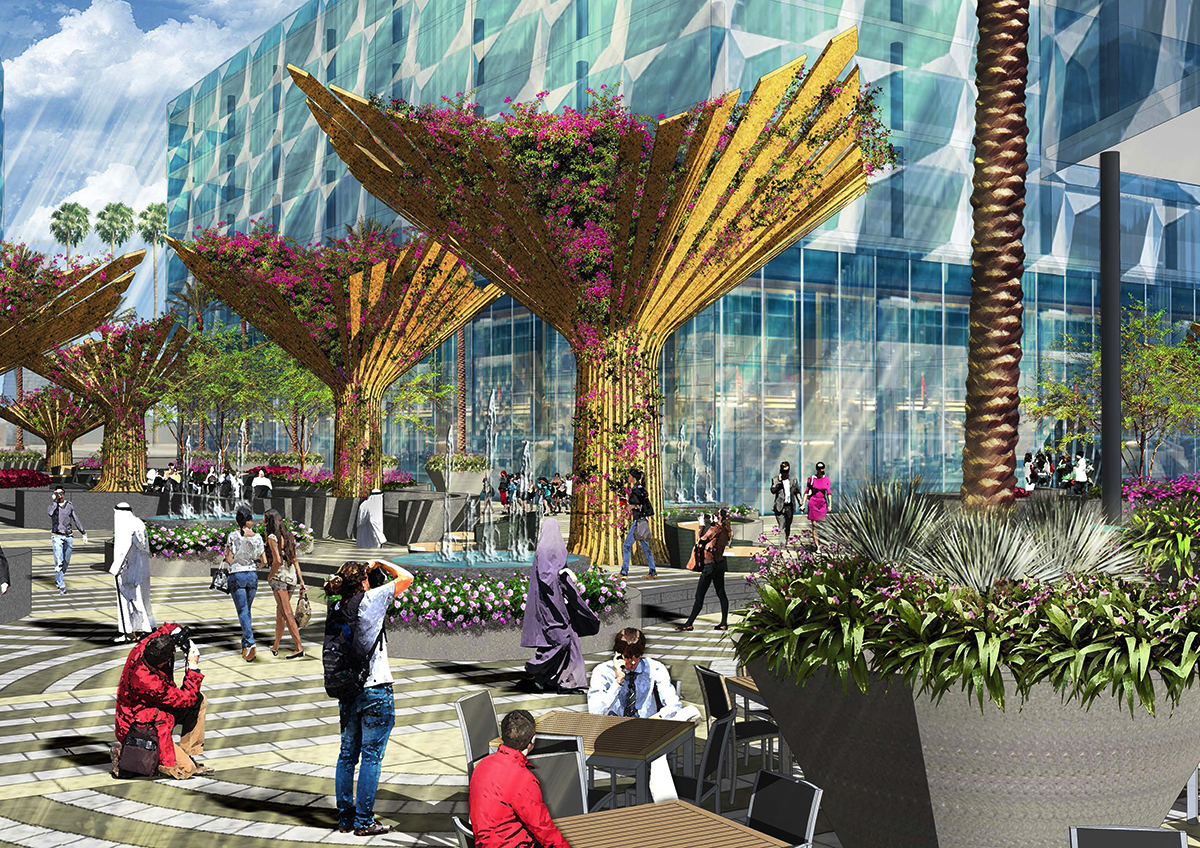 rendered drawing of Dubai Design District.  Plaza with people sitting, standing by tree blossoms