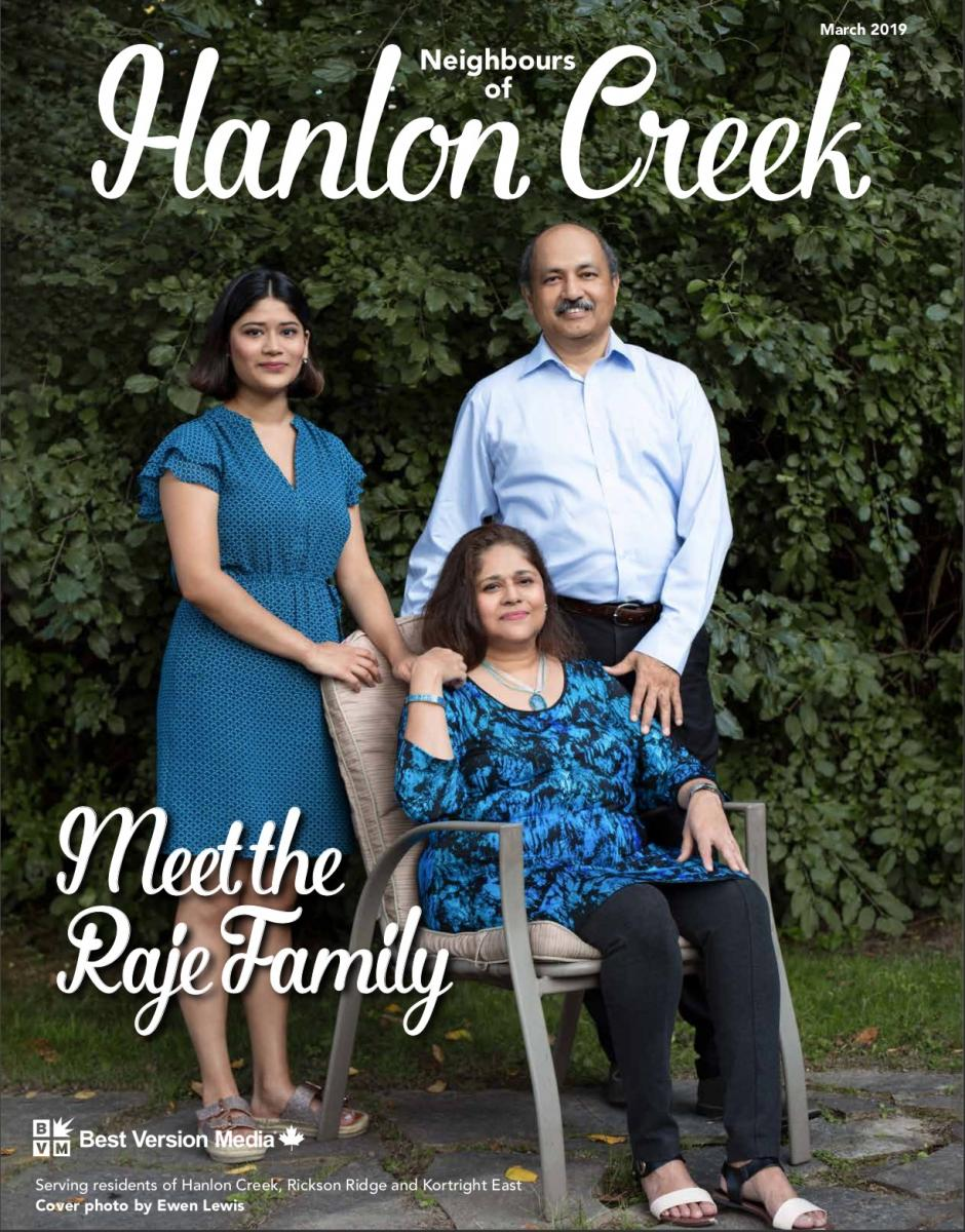 Magazine cover with family of three
