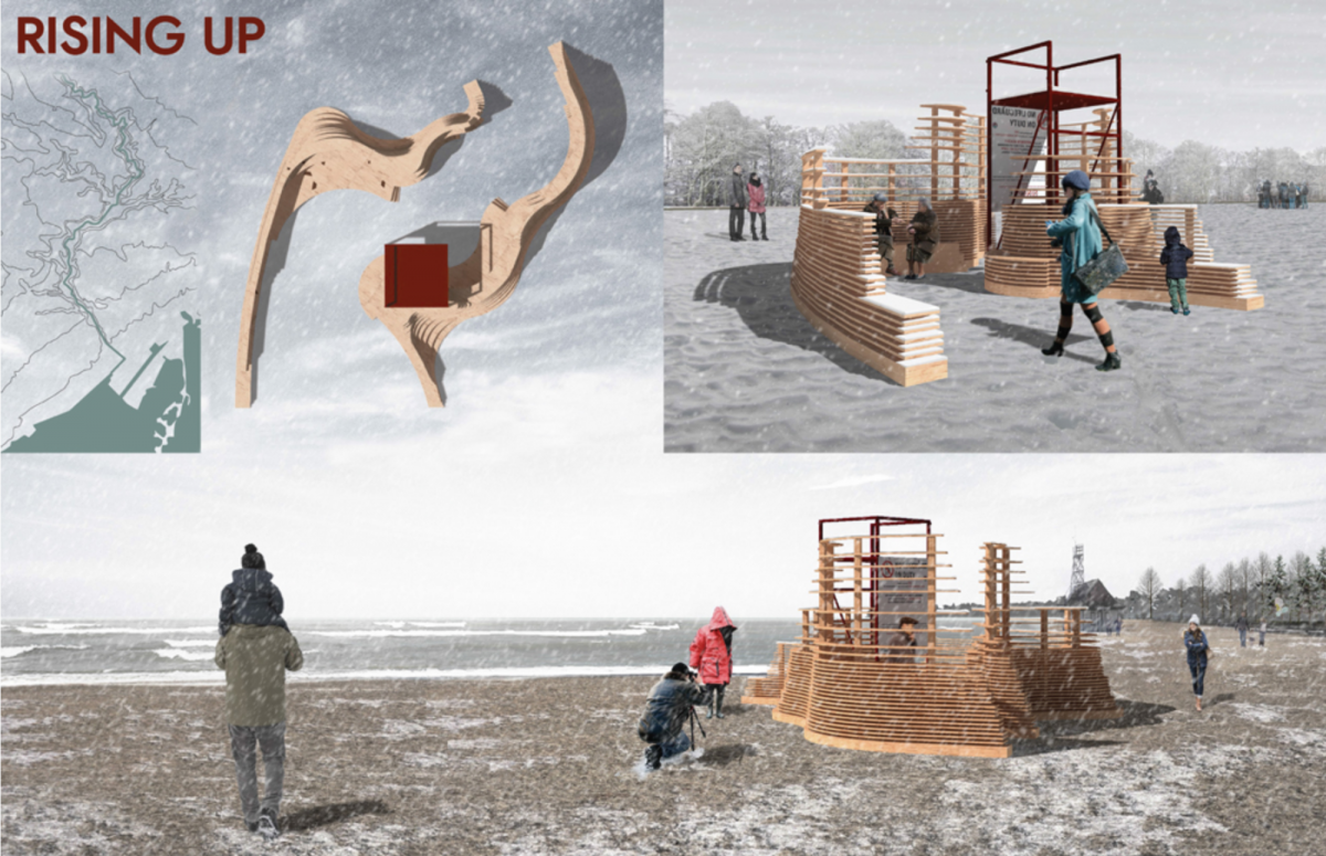 Four drawings depicting Winter Stations submission on the Toronto Beach.