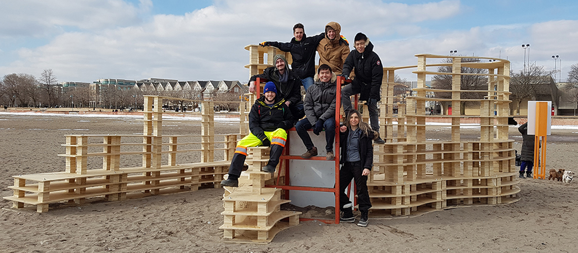 "Design Team ""Rising Up"" Winterstations exhibit at Toronto beech"