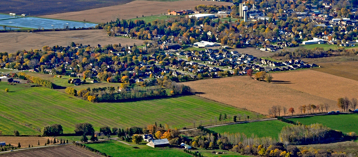 Aerial photo of a rural Ontario town and surrounding fields