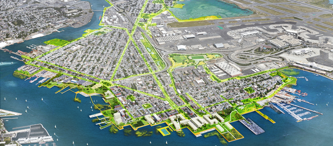 "Bird's eye view of rendering ""Coastal Resilience Solutions"""