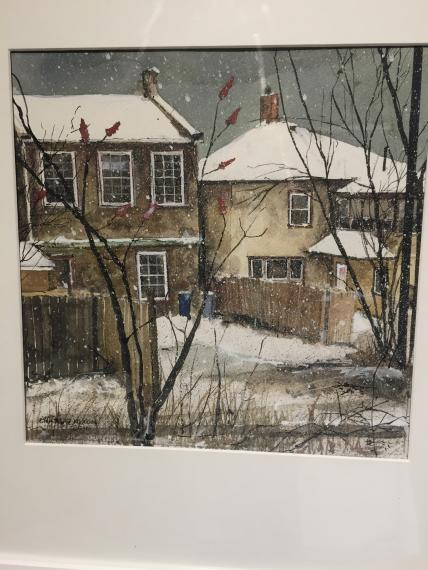 Watercolour painting depicting winter scene in Guelph neighbourhood