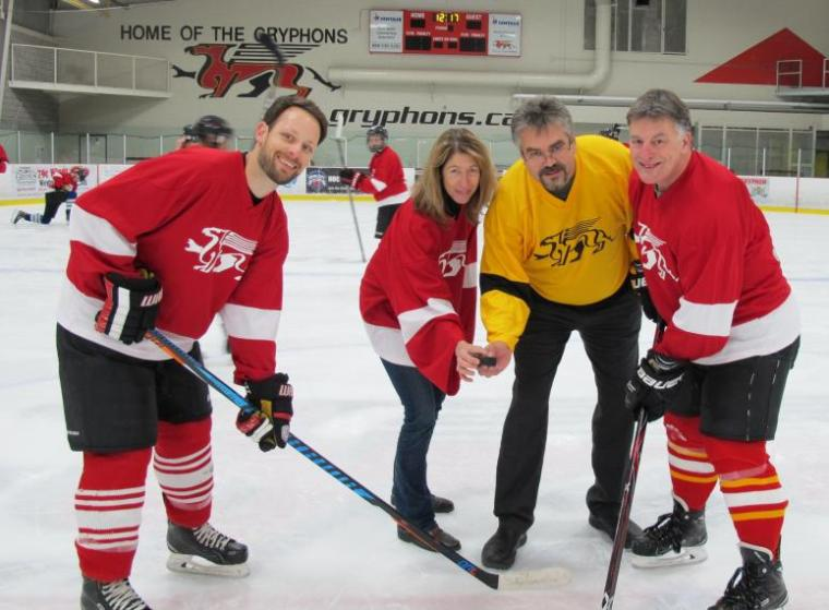 United Way Co-Chairs drop puck at annual hockey marathon