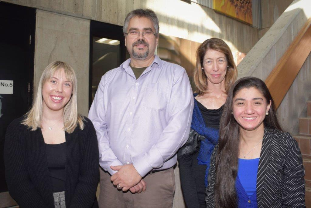 United Way Co-chairs Peter Routledge and Carolyn Kerr, and Student Co-Chairs Emma Pybus and Farial Hashimi.