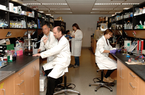 Prof. Joseph Lam, left, with lab staff