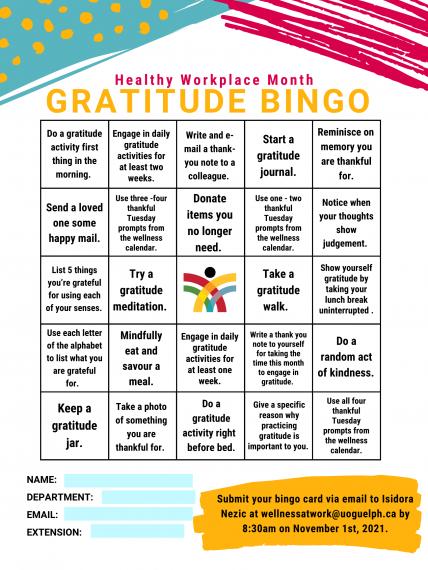 Gratitude Bingo card