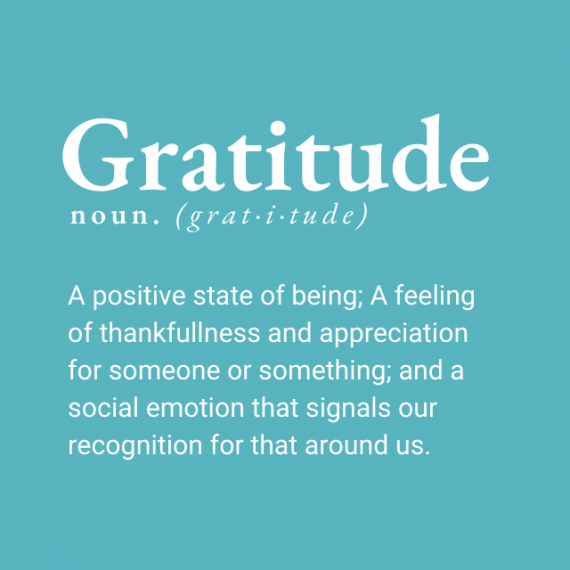 Definition of gratitude. White text on sky blue background.